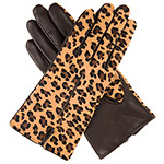 Dents Ladies Leopard Print Leather Glove