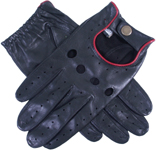 Dents Mens Leather driving glove Red Pip