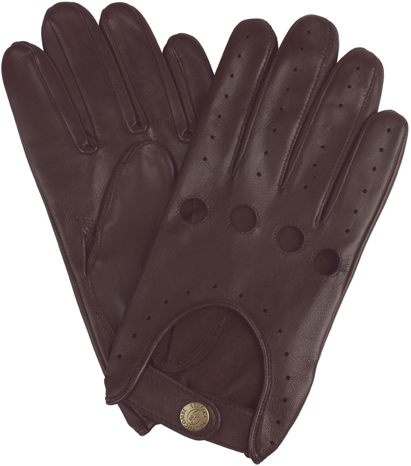 mens brown leather driving glove at gloves on hand
