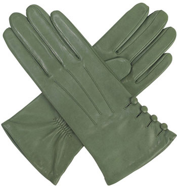 12c1156c4 Southcombe Ladies silk lined leather glove with Buttons - Green